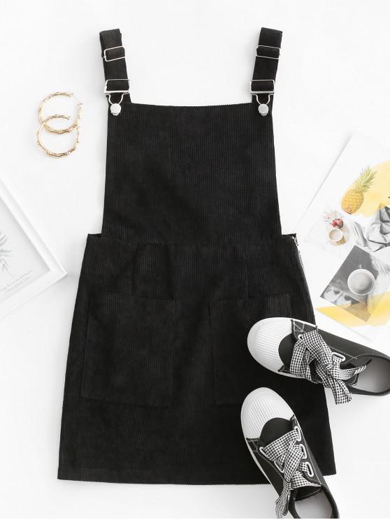 chic Side Zip Corduroy Overall Dress - BLACK M