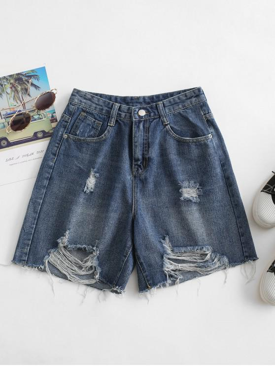 shop Distressed Bermuda Jean Shorts - DENIM DARK BLUE L
