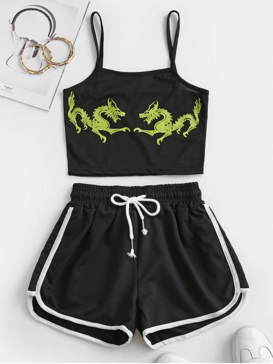 unique Two Piece Dragon Oriental Dolphin Shorts Set - BLACK XL