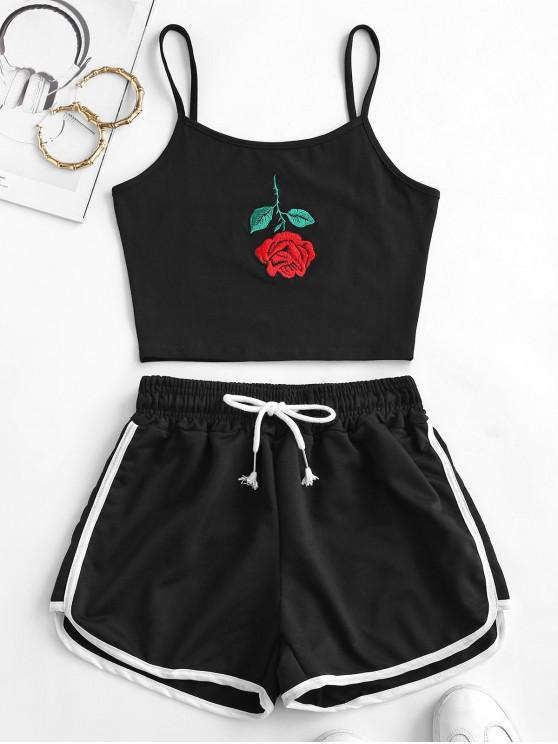 buy Rose Embroidered Top And Dolphin Shorts - BLACK S