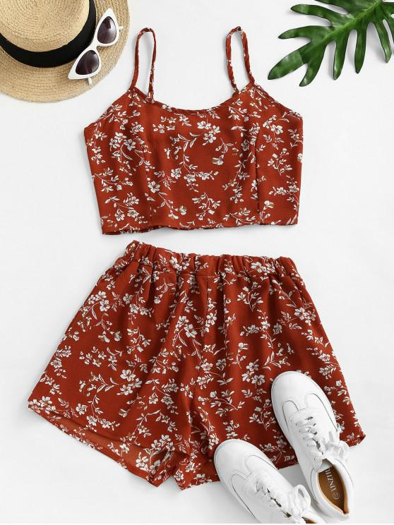 lady Ditsy Print Smocked Wide Leg Shorts Set - RED M