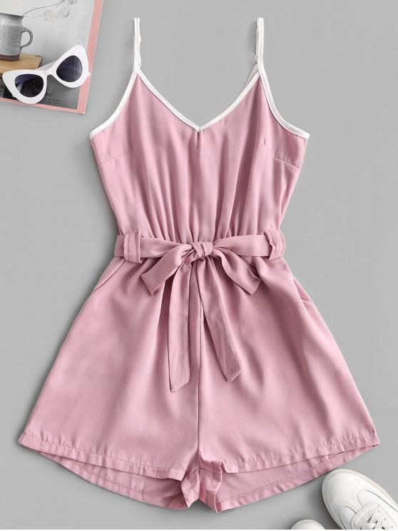 ladies Spaghetti Strap Contrast Piping Belted Romper - PINK ROSE M
