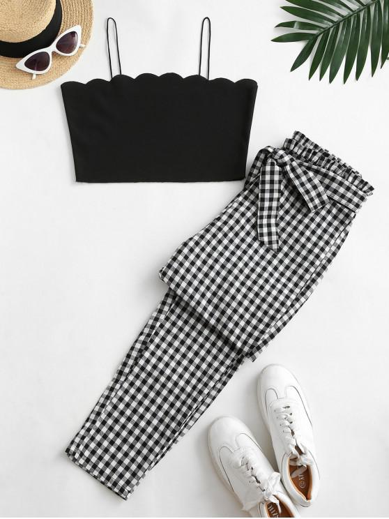 buy Scalloped Plaid Tie Waist Paperbag Pants Set - BLACK M