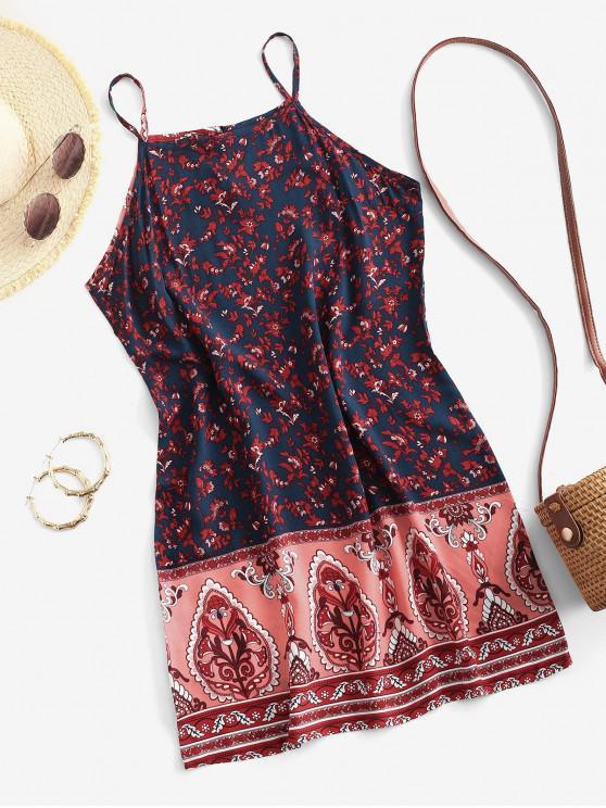affordable Cami Bohemian Printed Mini Dress - CADETBLUE M