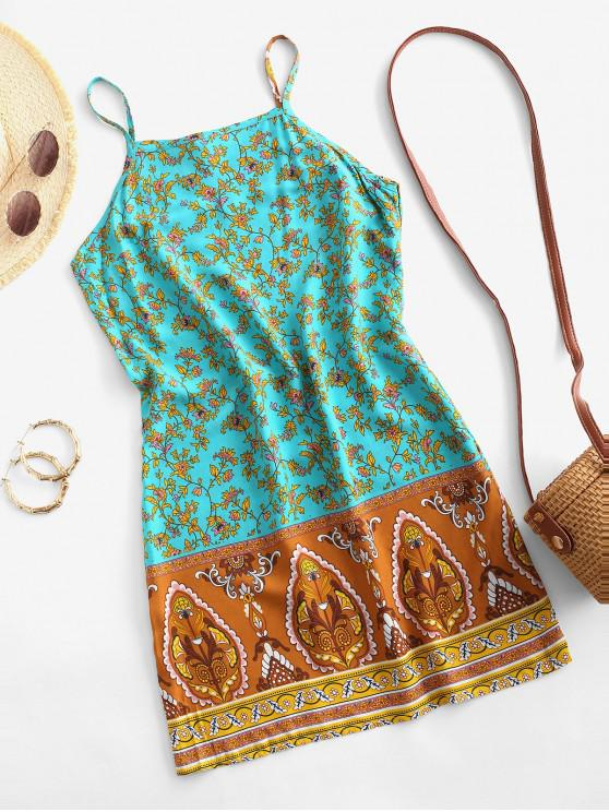 unique Cami Bohemian Printed Mini Dress - BLUE 2XL