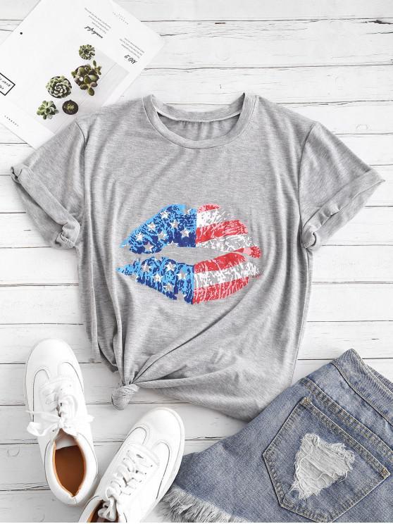 Camiseta Gráfica con Estampado de Bandera de Estados Unidos - Gris S