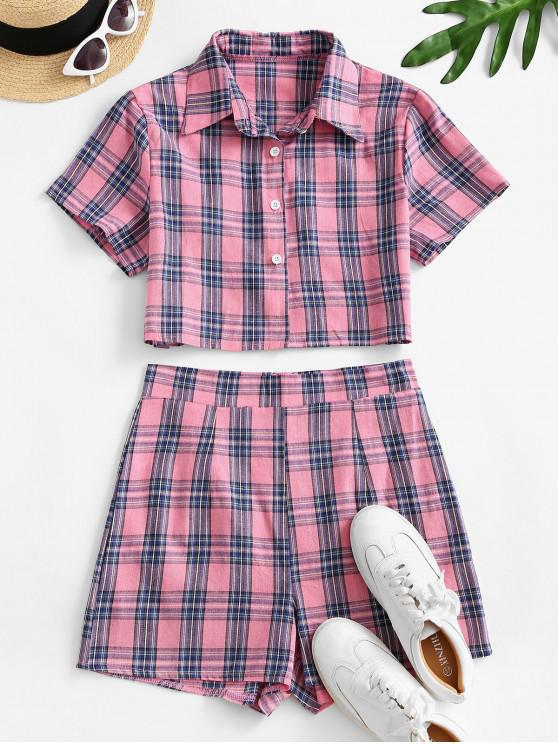 Buton Plaid Up Set de înaltă Waisted Pantaloni scurți - Roz deschis XL