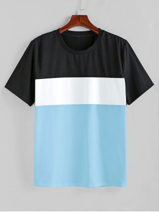 outfit ZAFUL Color Spliced Short Sleeves T-shirt - DAY SKY BLUE 2XL