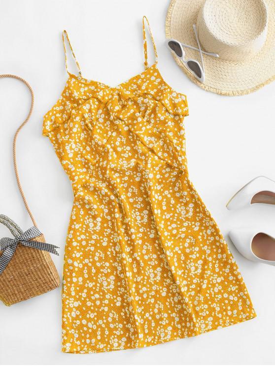 hot ZAFUL Ruffles Ditsy Floral Cami Mini Dress - YELLOW S