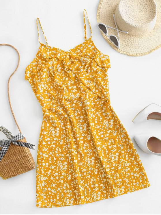shop ZAFUL Ruffles Ditsy Floral Cami Mini Dress - YELLOW XL
