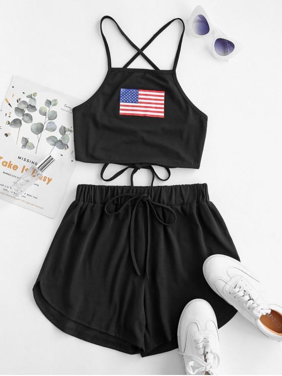 affordable American Flag Crisscross Two Piece Set - BLACK M