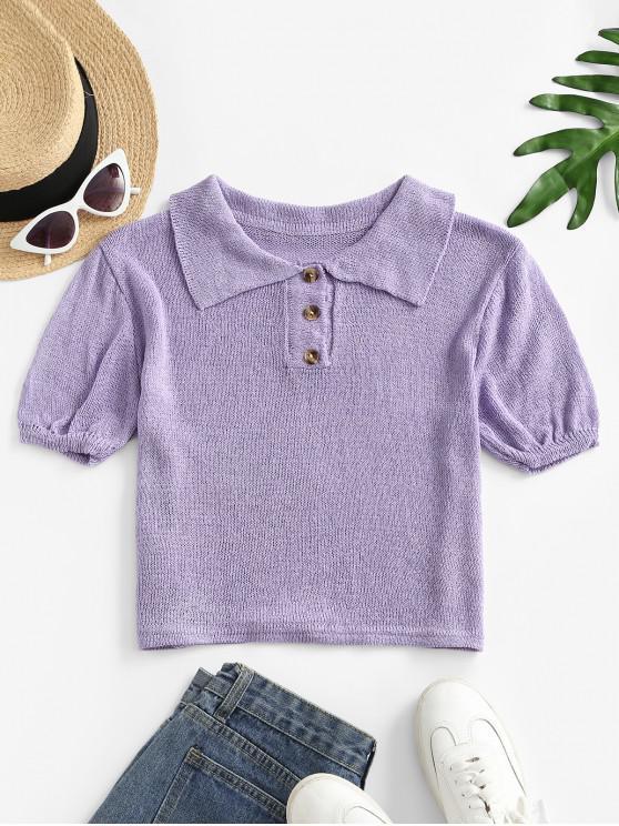 Camiseta de Malha Meio-Abotoado com Meio Sólido - Roxa Um Tamanho