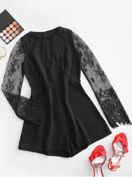 womens Tie Lace Panel Long Sleeve Romper - BLACK M