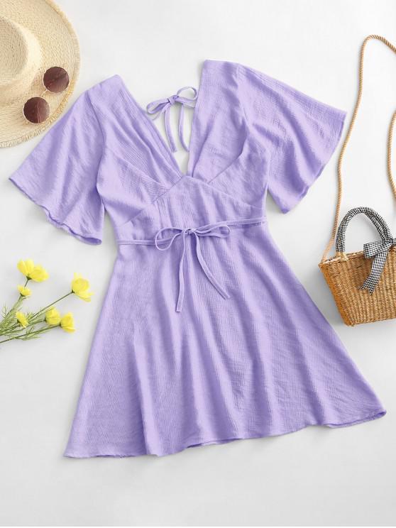 best Plunging Open Back Tie Textured Dress - LIGHT PURPLE XL