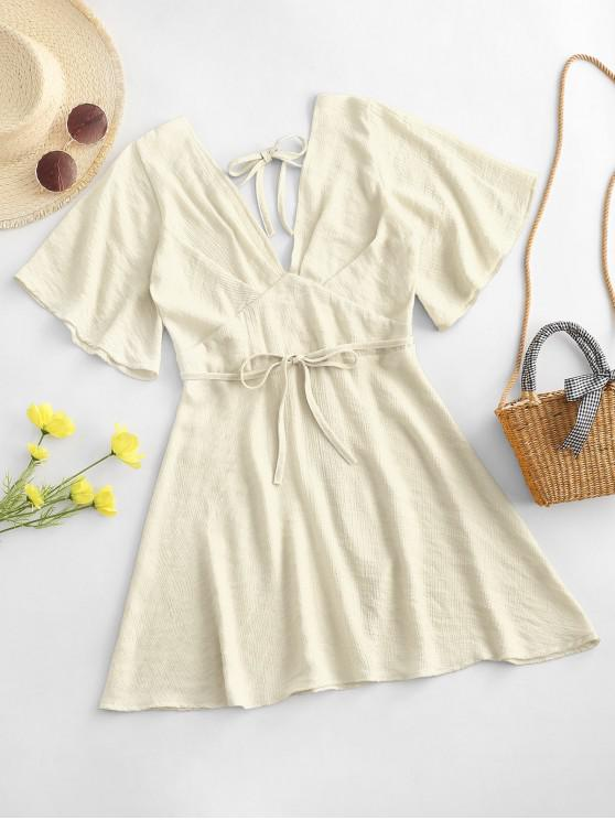 unique Plunging Open Back Tie Textured Dress - LIGHT YELLOW S