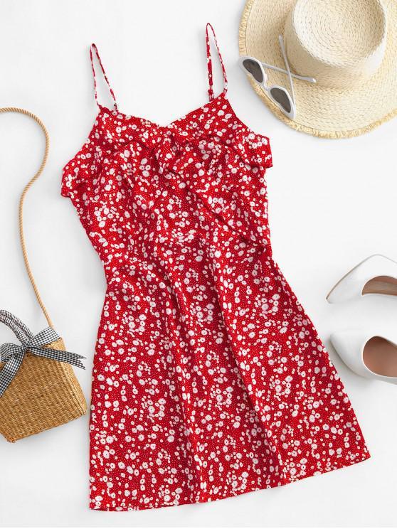 shop ZAFUL Ruffles Ditsy Floral Cami Mini Dress - RED L