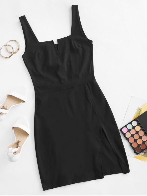 women V-wired Slit Sheath Dress - BLACK M