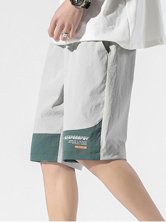 Colorblock Panel Letter Drawstring Shorts - اللون الرمادي XS