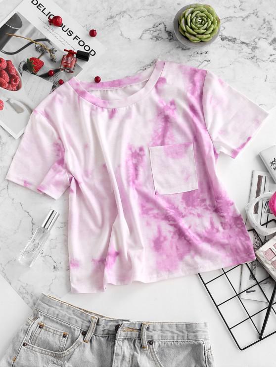 new ZAFUL Tie Dye Pocket Short Sleeve T-shirt - LIGHT PURPLE M