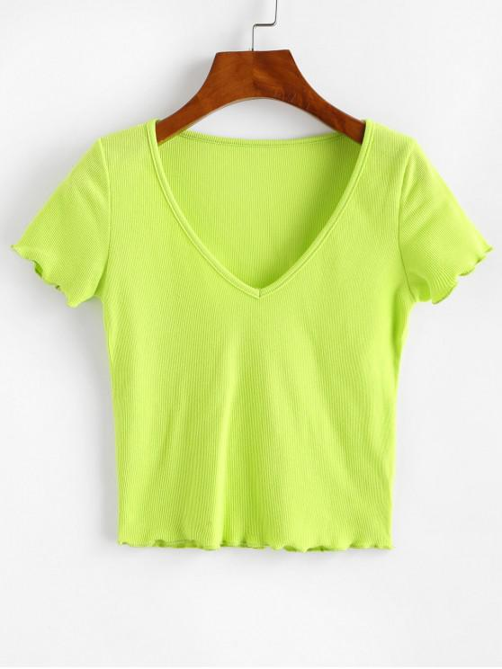 new Solid V Neck Ribbed Tee - GREEN L