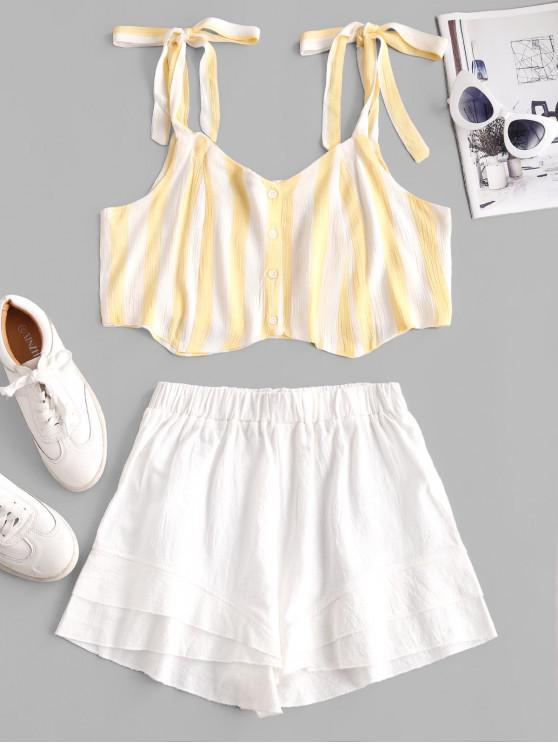 Striped Tie Shoulder Wide Leg Shorts Set - ذرة صفراء S