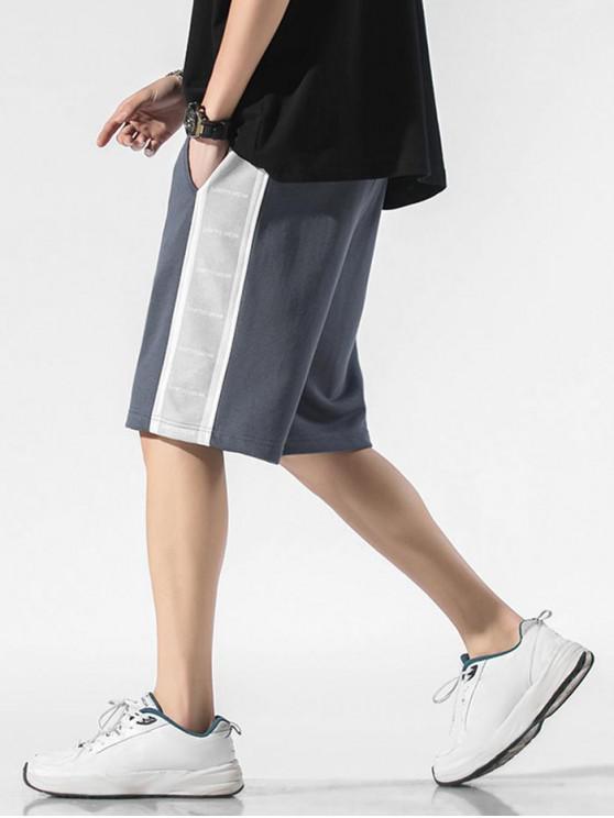 Letter Print Drawstring Contrast Sweat Shorts - ضباب أزرق S