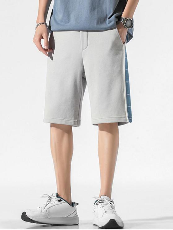 Pantaloncini Sportivi a Contrasto Stampati Lettere con Coulisse - Grigio Chiaro XS