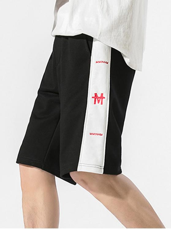 Drawstring Letter Embroidered Contrast Trim Shorts - أسود 3XL