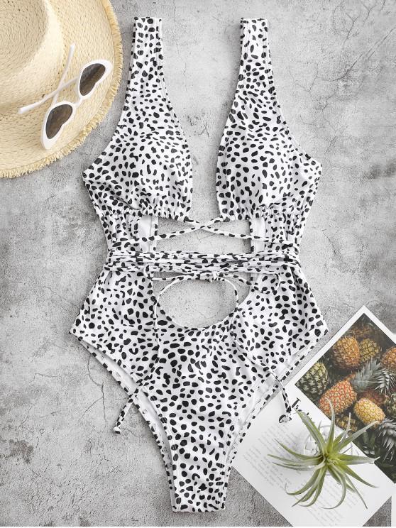 ZAFUL Leopard Rückenfrei Badebekleidung mit Ausschnitt - Weiß S
