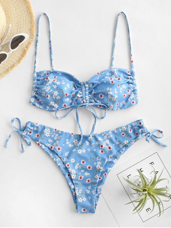 lady ZAFUL Ditsy Floral Cinched Tie Bikini Swimwear - LIGHT BLUE S