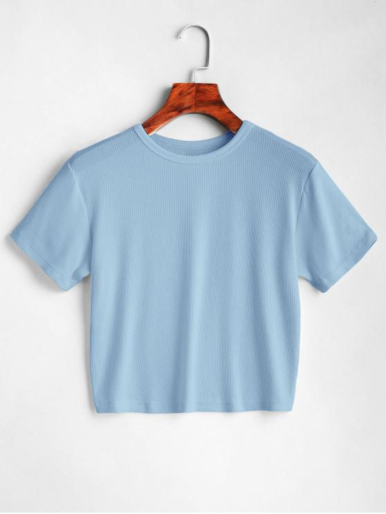 women ZAFUL Plain Cropped Tee - LIGHT BLUE L