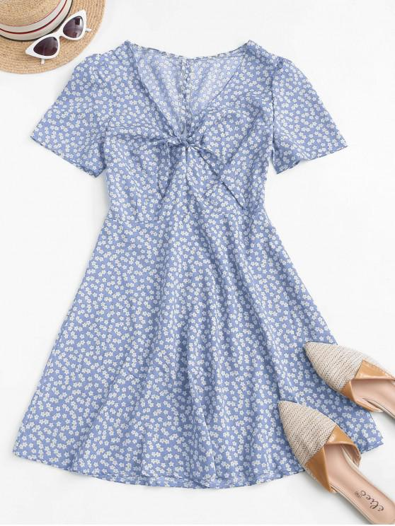 womens Ditsy Print Tie Knot Plunging Mini Dress - LIGHT BLUE S