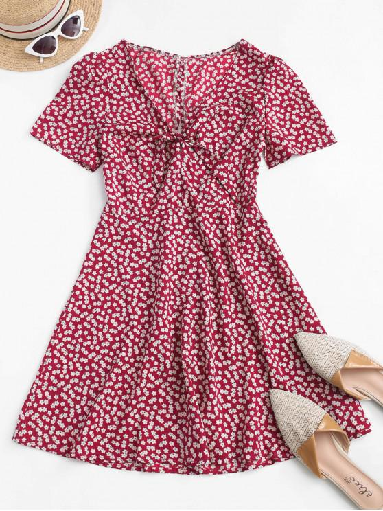 lady Ditsy Print Tie Knot Plunging Mini Dress - RED M