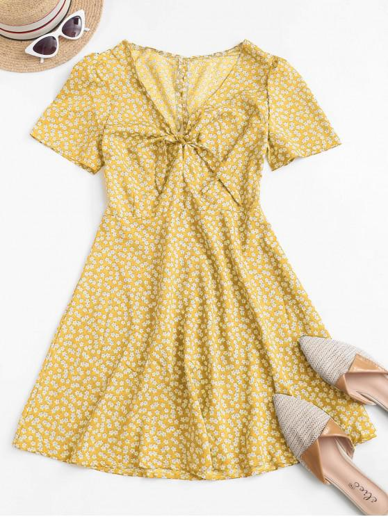 hot Ditsy Print Tie Knot Plunging Mini Dress - YELLOW S