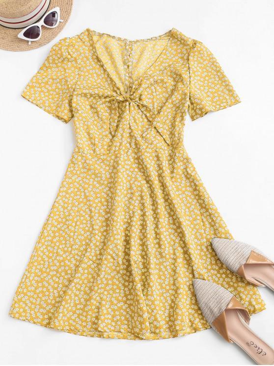 Ditsy Print Tie Knot Plunging Mini Dress - الأصفر S