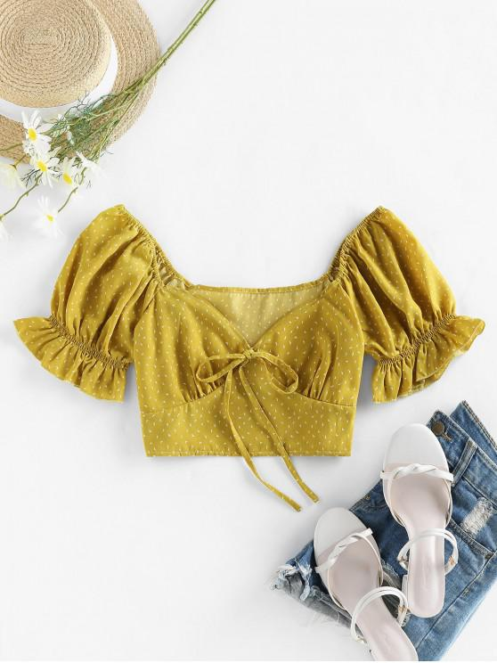 outfits ZAFUL Bat Print Knotted Crop Blouse - GINGER BROWN L
