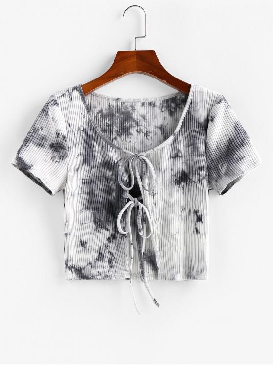 women ZAFUL Ribbed Tie Dye Tie Front T-shirt - MULTI-A S