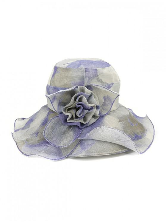 best Water Color Floral Wide Brimmed Beach Sun Hat - BLUE