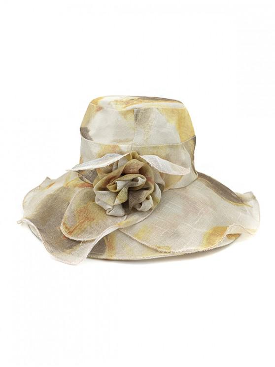 online Water Color Floral Wide Brimmed Beach Sun Hat - KHAKI