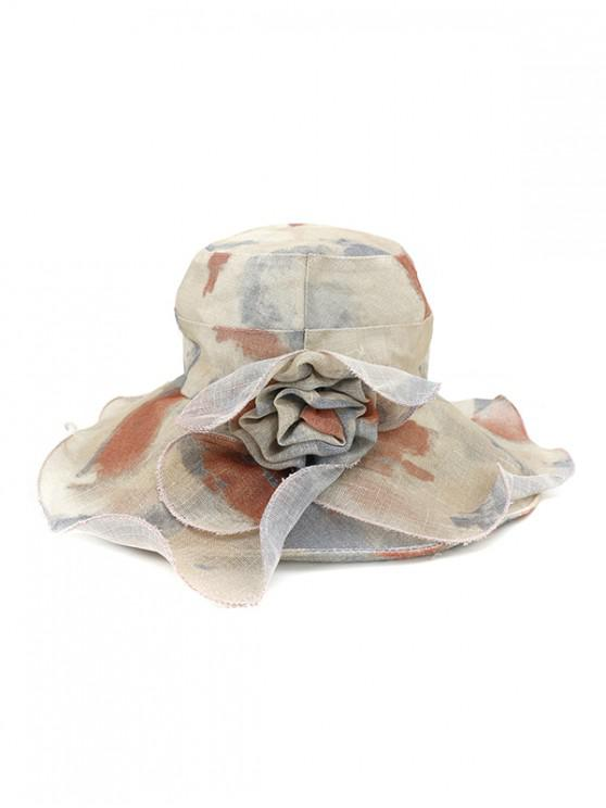 new Water Color Floral Wide Brimmed Beach Sun Hat - BROWN