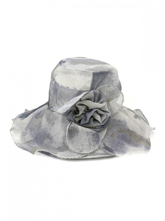 hot Water Color Floral Wide Brimmed Beach Sun Hat - GRAY