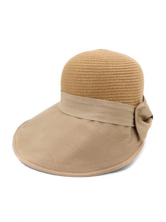 hot Back Bowknot Wide Brim Basin Straw Hat - KHAKI