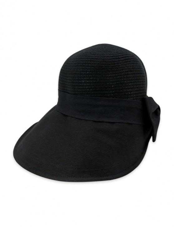 outfits Back Bowknot Wide Brim Basin Straw Hat - BLACK