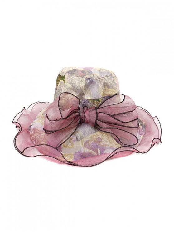 Floral Bowknot Design Bucket Hat - ضوء ارجواني
