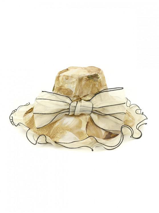 Chapéu De Balde Floral Com Gravata - Bege