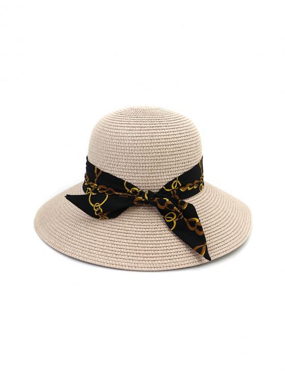 latest Chain Print Bowknot Wide Brim Straw Hat - LIGHT PINK