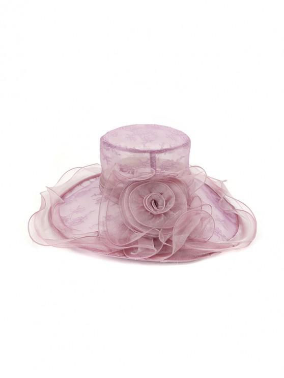 latest Flower Lace Wide Brimmed Beach Sun Hat - LIGHT PURPLE