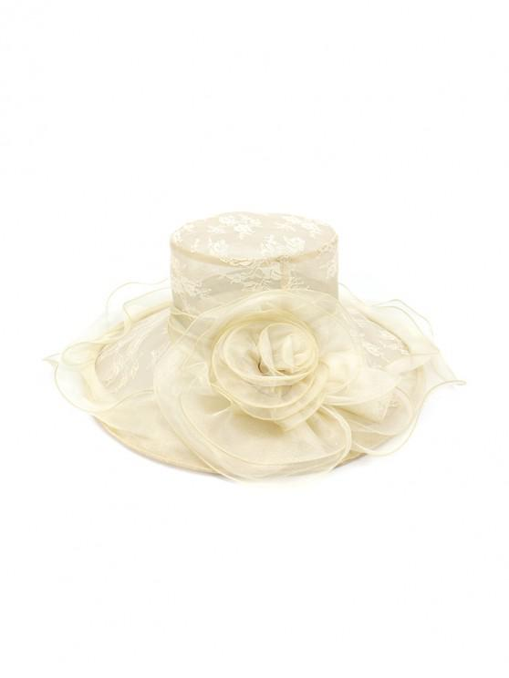 Flower Lace Wide Brimmed Beach Sun Hat - اللون البيج