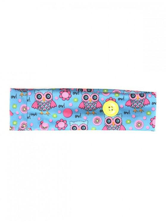 Cartoon Printed Button Elastic Sports Headband - ازرق فاتح