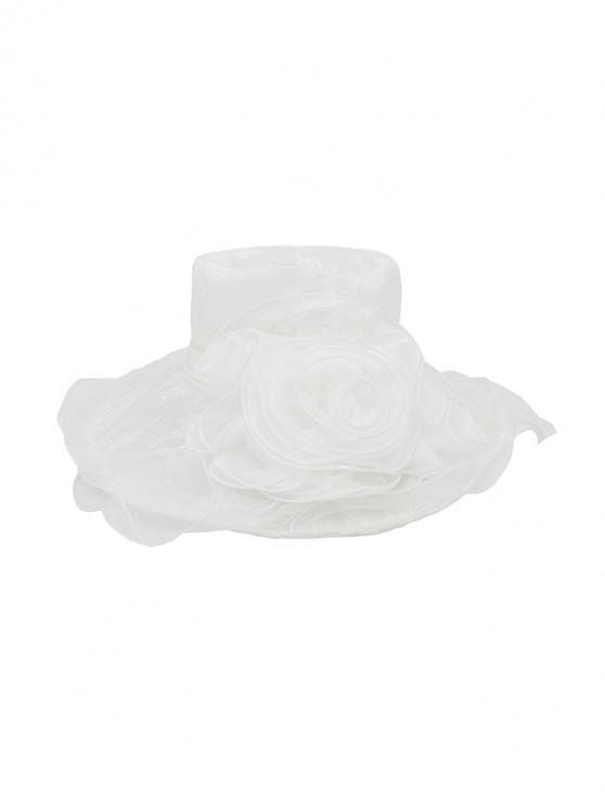 Flower Lace Wide Brimmed Beach Sun Hat - أبيض